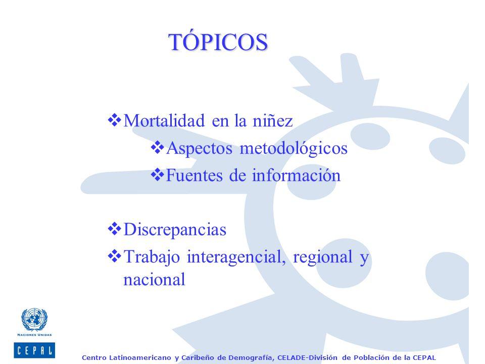 Centro Latinoamericano y Caribeño de Demografía, CELADE-División de Población de la CEPAL TÓPICOS Mortalidad en la niñez Aspectos metodológicos Fuente