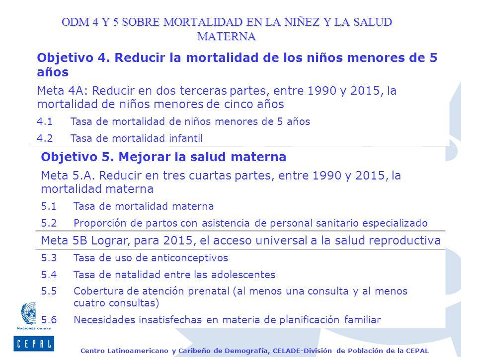 Centro Latinoamericano y Caribeño de Demografía, CELADE-División de Población de la CEPAL ODM 4 Y 5 SOBRE MORTALIDAD EN LA NIÑEZ Y LA SALUD MATERNA Ob