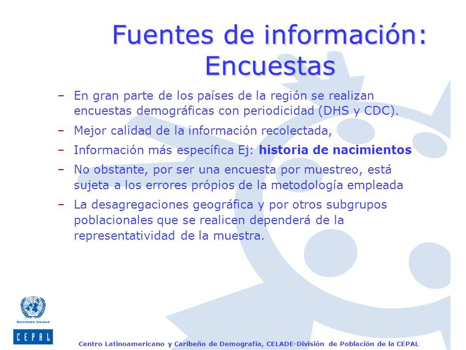 Centro Latinoamericano y Caribeño de Demografía, CELADE-División de Población de la CEPAL Fuentes de información: Encuestas –En gran parte de los país