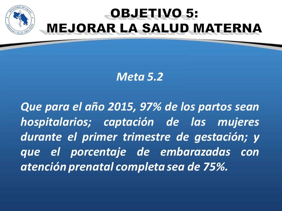 Meta 5.2 Que para el año 2015, 97% de los partos sean hospitalarios; captación de las mujeres durante el primer trimestre de gestación; y que el porce