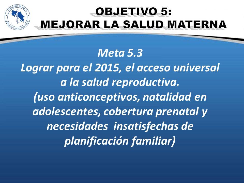 Meta 5.3 Lograr para el 2015, el acceso universal a la salud reproductiva. (uso anticonceptivos, natalidad en adolescentes, cobertura prenatal y neces