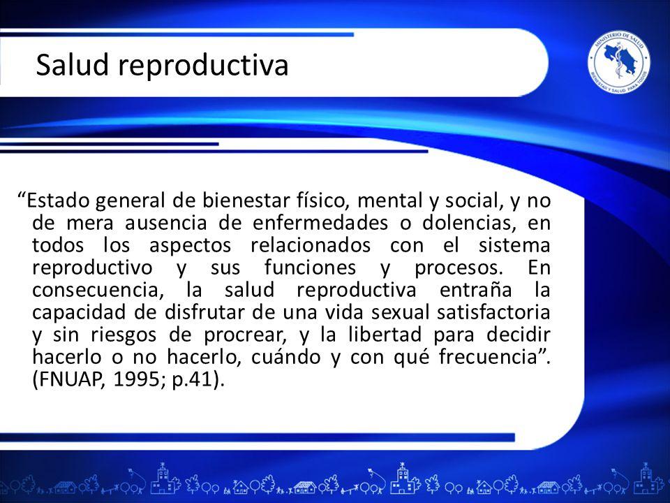 Componentes de la salud reproductiva La planificación familiar, accesible y de calidad.