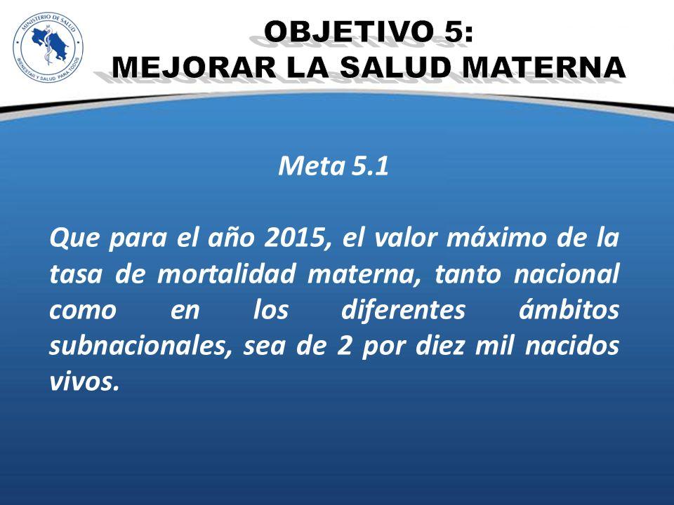 Meta 5.1 Que para el año 2015, el valor máximo de la tasa de mortalidad materna, tanto nacional como en los diferentes ámbitos subnacionales, sea de 2