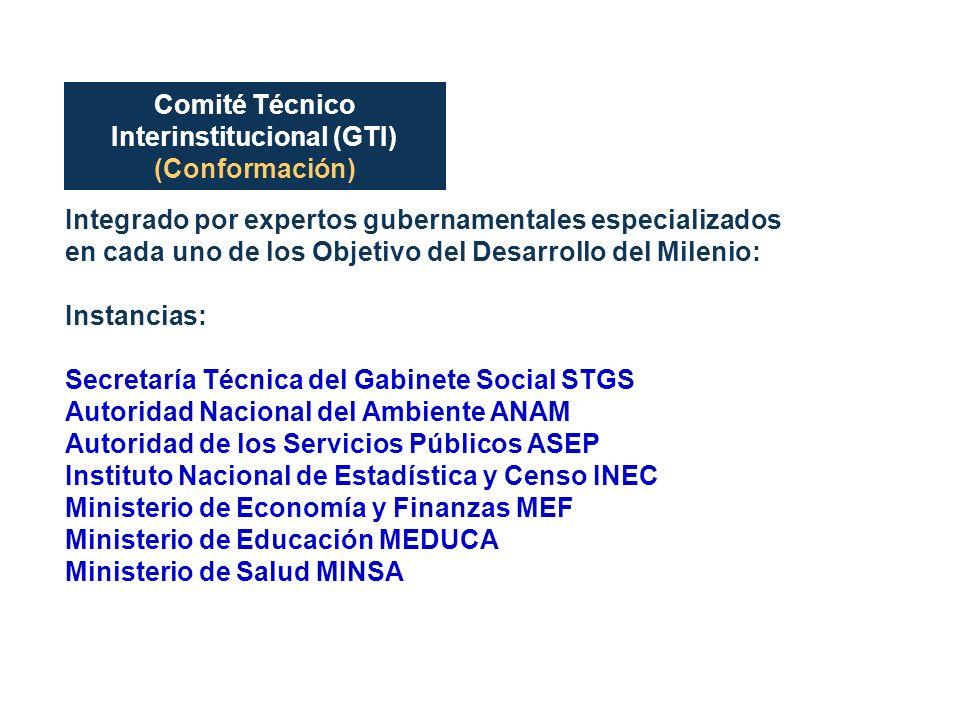 Comité Técnico Interinstitucional (GTI) (Conformación) Integrado por expertos gubernamentales especializados en cada uno de los Objetivo del Desarroll