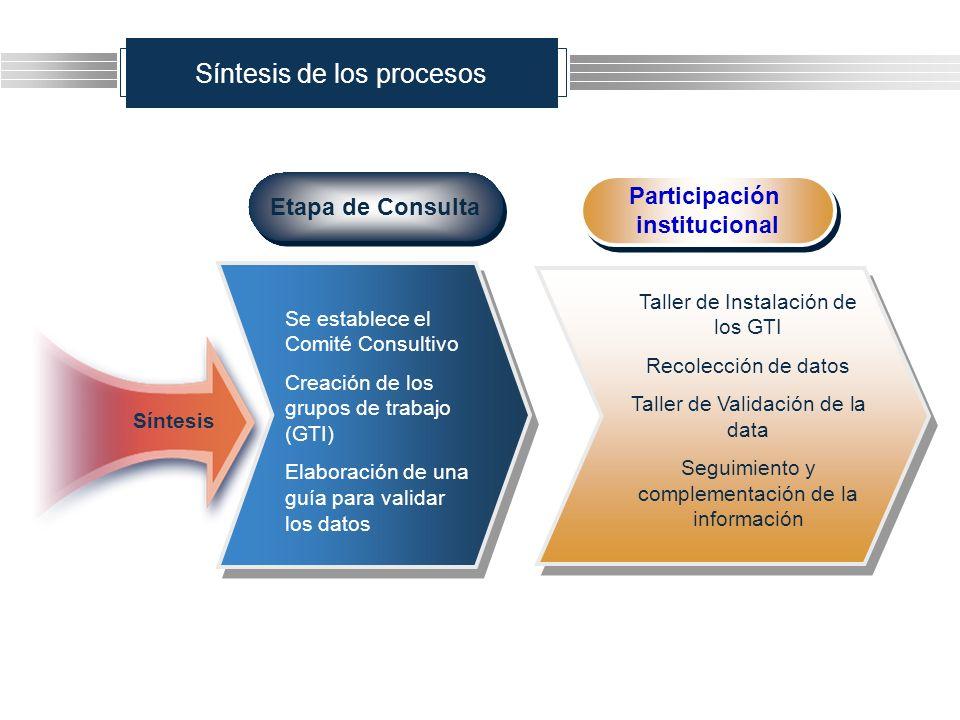 Síntesis de los procesos Etapa de Consulta Se establece el Comité Consultivo Creación de los grupos de trabajo (GTI) Elaboración de una guía para vali