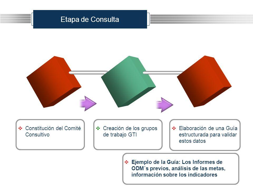 Etapa de Consulta Creación de los grupos de trabajo GTI Constitución del Comité Consultivo Elaboración de una Guía estructurada para validar estos dat