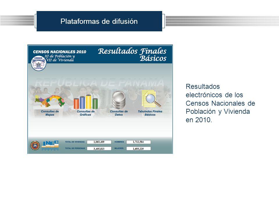 Plataformas de difusión Resultados electrónicos de los Censos Nacionales de Población y Vivienda en 2010.