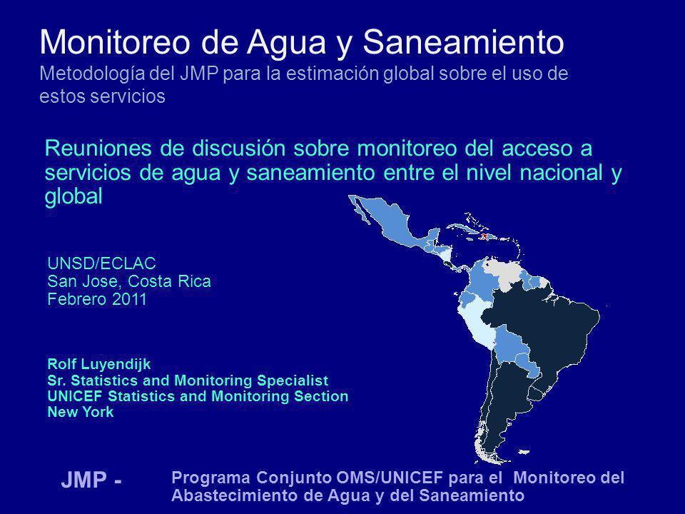 Monitoreo de Agua y Saneamiento Metodología del JMP para la estimación global sobre el uso de estos servicios Reuniones de discusión sobre monitoreo d