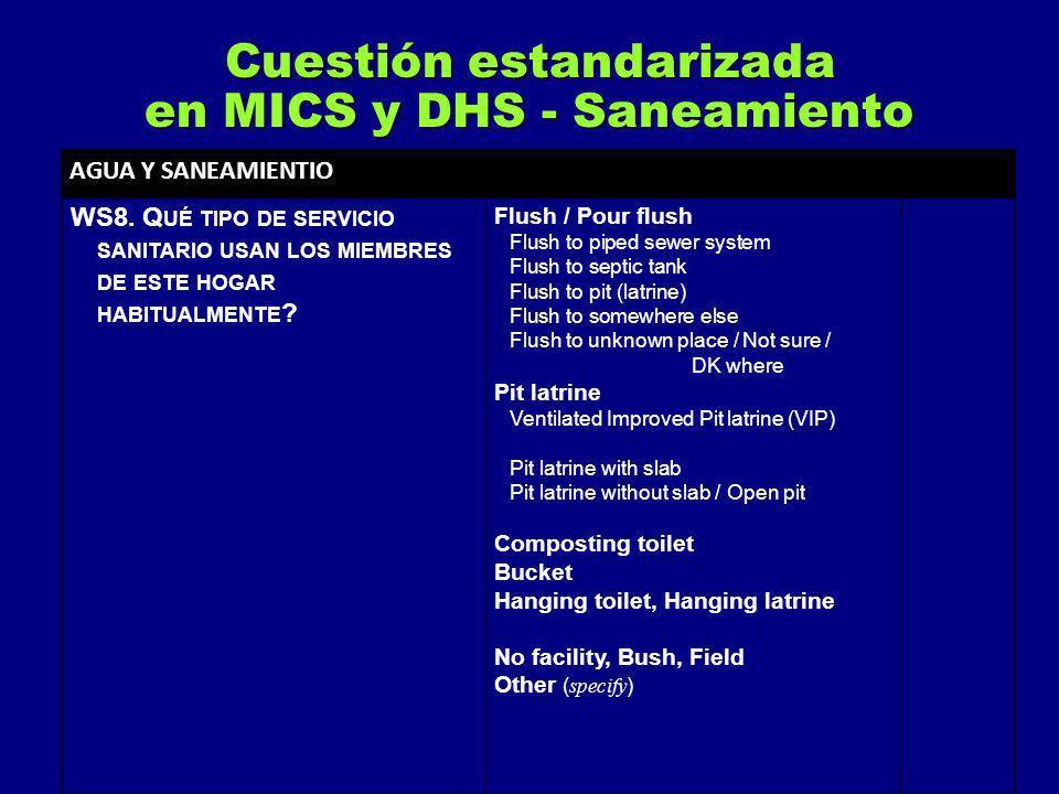 AGUA Y SANEAMIENTIO WS8. Q UÉ TIPO DE SERVICIO SANITARIO USAN LOS MIEMBRES DE ESTE HOGAR HABITUALMENTE ? Flush / Pour flush Flush to piped sewer syste