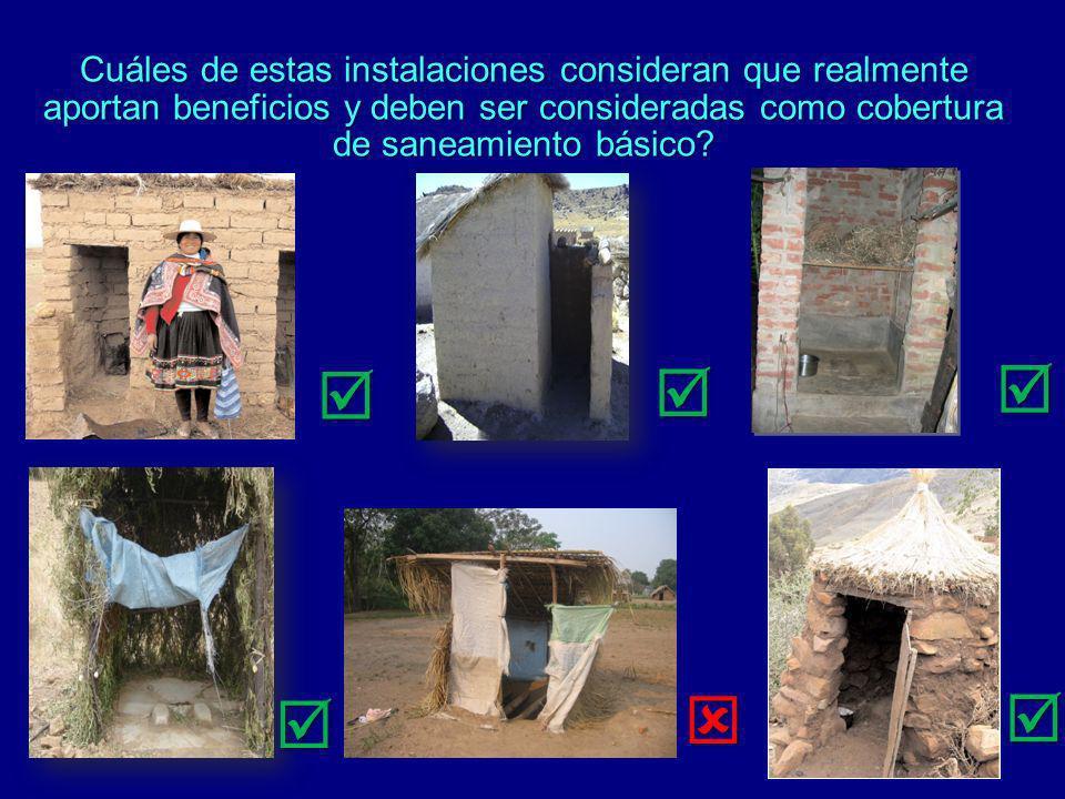 Cuáles de estas instalaciones consideran que realmente aportan beneficios y deben ser consideradas como cobertura de saneamiento básico?