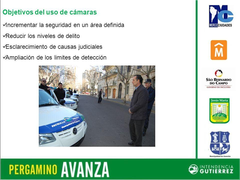 Objetivos del uso de cámaras Incrementar la seguridad en un área definida Reducir los niveles de delito Esclarecimiento de causas judiciales Ampliación de los limites de detección