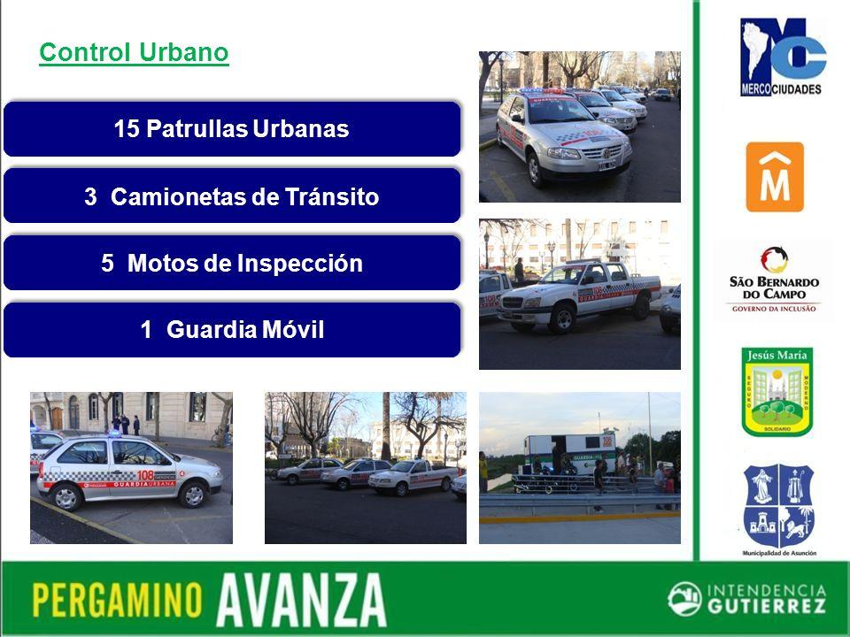 15 Patrullas Urbanas 3 Camionetas de Tránsito 5 Motos de Inspección 1 Guardia Móvil Control Urbano