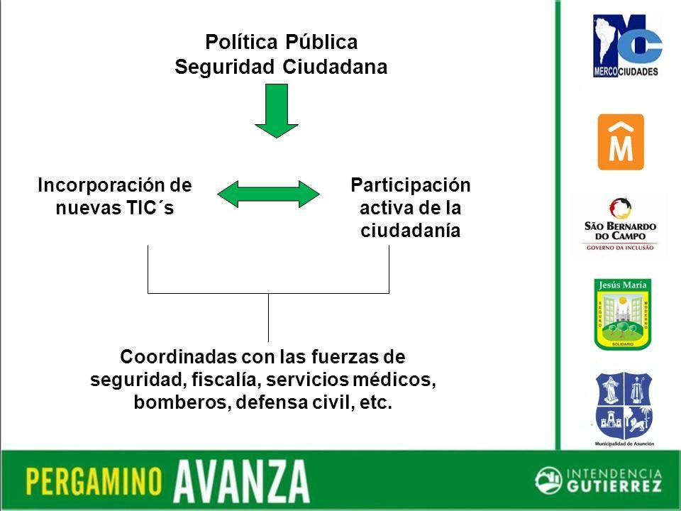 Política Pública Seguridad Ciudadana Incorporación de nuevas TIC´s Participación activa de la ciudadanía Coordinadas con las fuerzas de seguridad, fiscalía, servicios médicos, bomberos, defensa civil, etc.