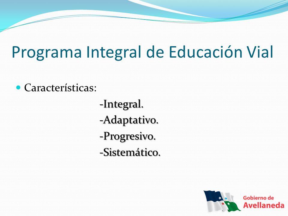 Programa Integral de Educación Vial Características: -Integral. -Integral. -Adaptativo. -Adaptativo. -Progresivo. -Progresivo. -Sistemático. -Sistemát