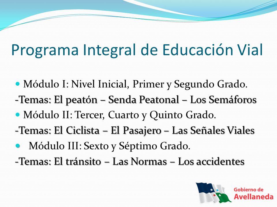 Programa Integral de Educación Vial Módulo I: Nivel Inicial, Primer y Segundo Grado. -Temas: El peatón – Senda Peatonal – Los Semáforos Módulo II: Ter