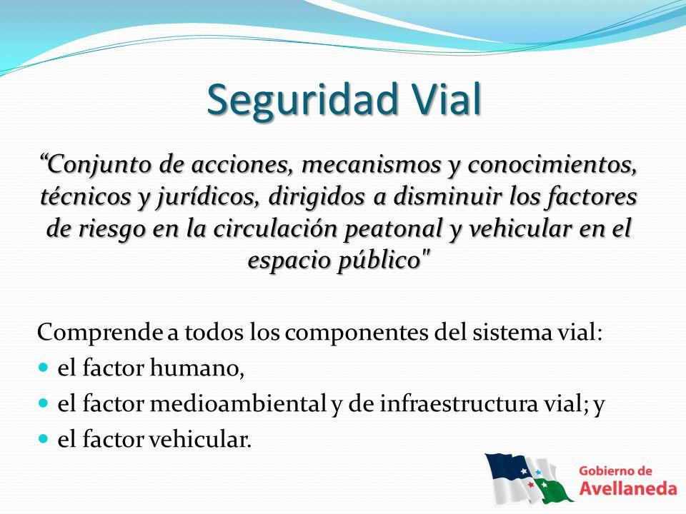 Seguridad Vial Conjunto de acciones, mecanismos y conocimientos, técnicos y jurídicos, dirigidos a disminuir los factores de riesgo en la circulación
