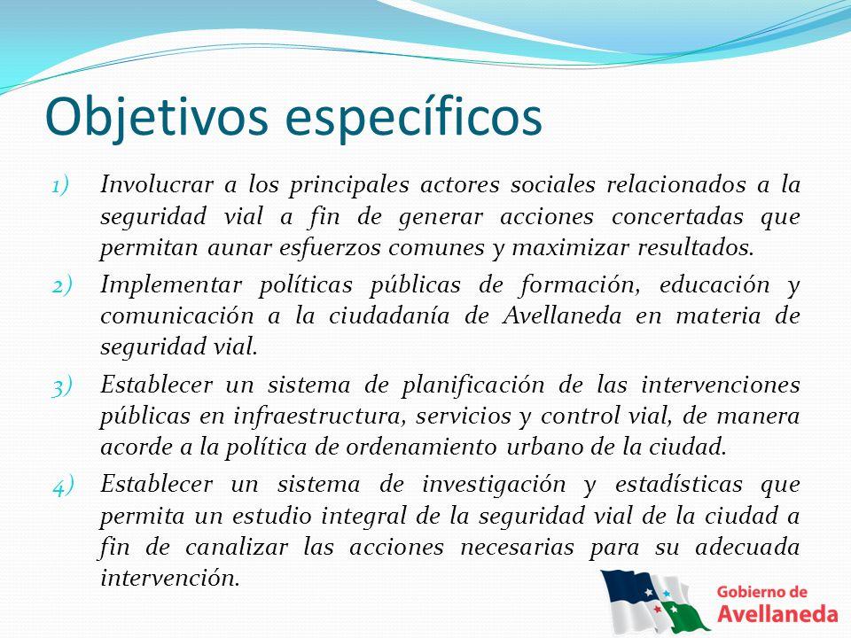 Objetivos específicos 1) Involucrar a los principales actores sociales relacionados a la seguridad vial a fin de generar acciones concertadas que perm