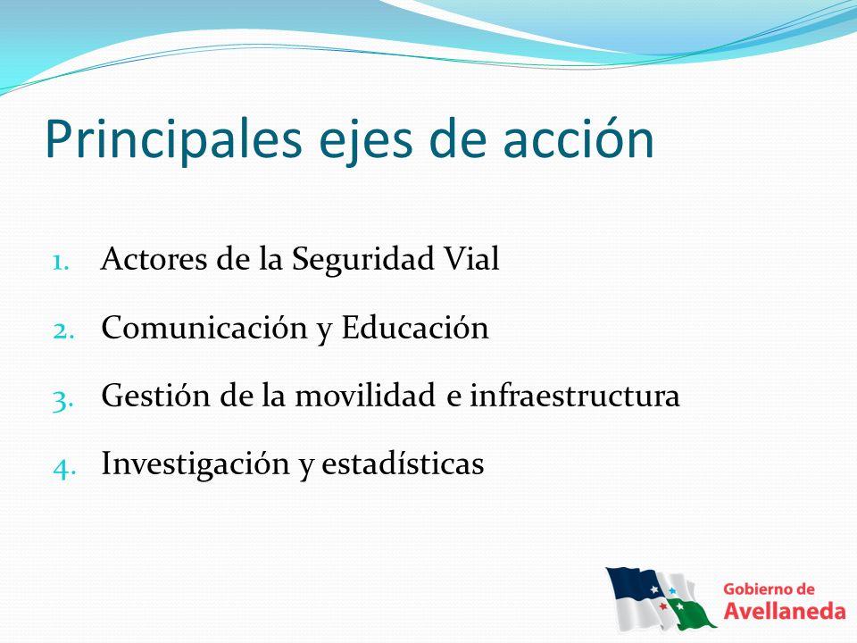 1. Actores de la Seguridad Vial 2. Comunicación y Educación 3. Gestión de la movilidad e infraestructura 4. Investigación y estadísticas Principales e