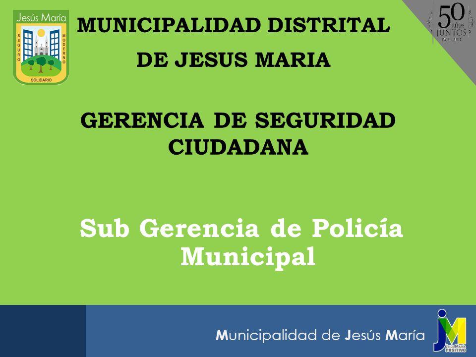 M unicipalidad de J esús M aría Sub Gerencia de Policía Municipal MUNICIPALIDAD DISTRITAL DE JESUS MARIA GERENCIA DE SEGURIDAD CIUDADANA