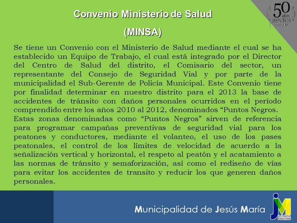 M unicipalidad de J esús M aría Se tiene un Convenio con el Ministerio de Salud mediante el cual se ha establecido un Equipo de Trabajo, el cual está