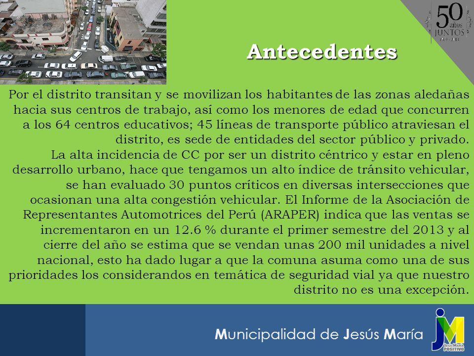 M unicipalidad de J esús M aría Antecedentes Por el distrito transitan y se movilizan los habitantes de las zonas aledañas hacia sus centros de trabaj