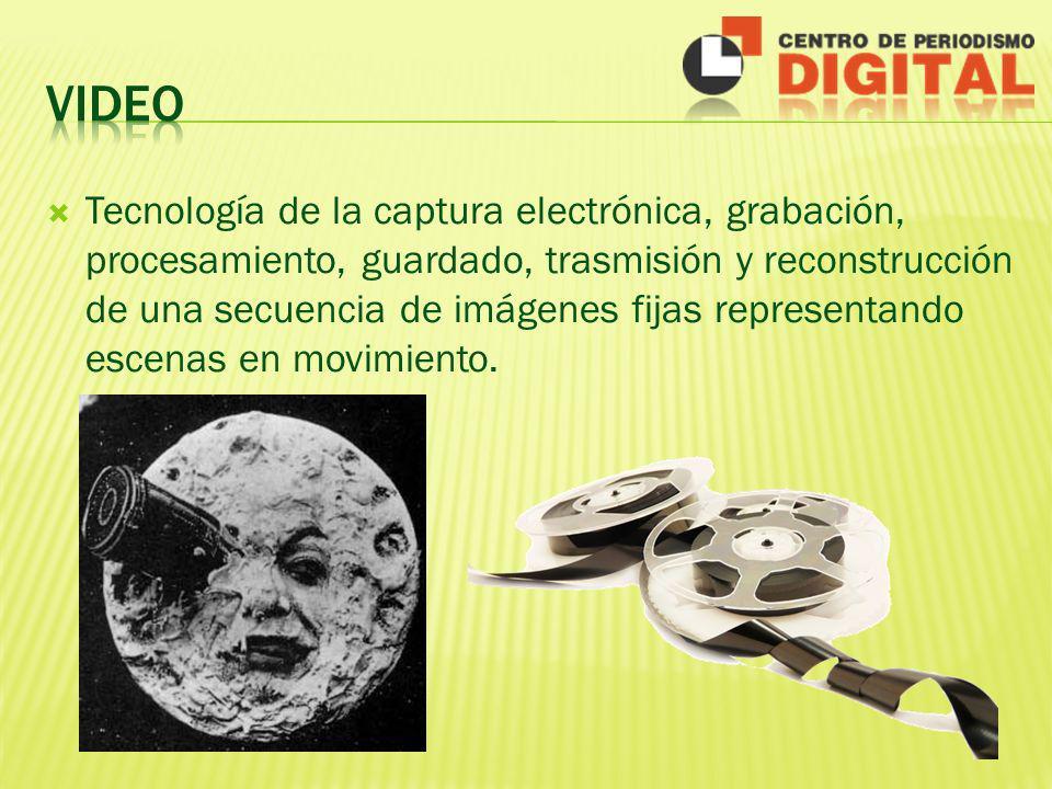 Tecnología de la captura electrónica, grabación, procesamiento, guardado, trasmisión y reconstrucción de una secuencia de imágenes fijas representando