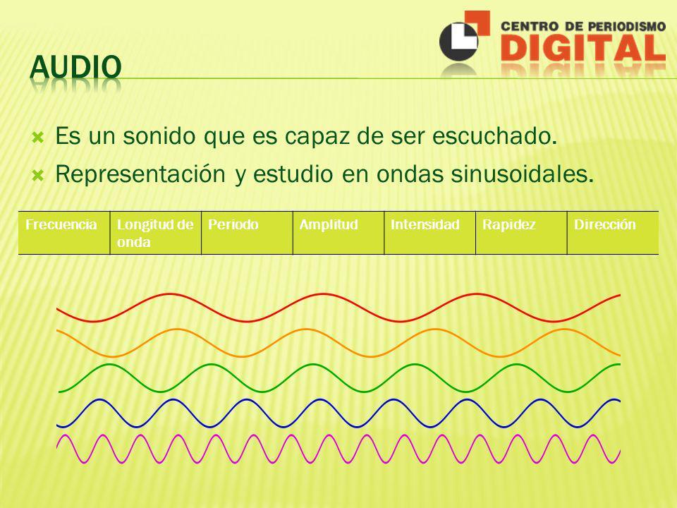 Es un sonido que es capaz de ser escuchado. Representación y estudio en ondas sinusoidales. FrecuenciaLongitud de onda PeriodoAmplitudIntensidadRapide