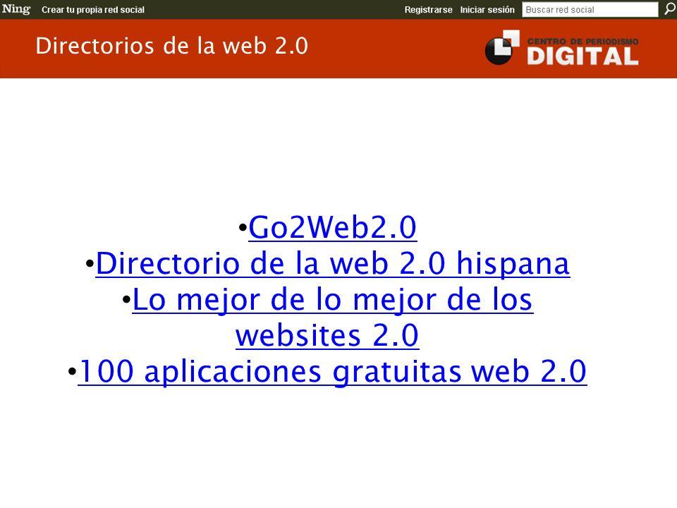 Go2Web2.0 Directorio de la web 2.0 hispana Lo mejor de lo mejor de los websites 2.0 Lo mejor de lo mejor de los websites 2.0 100 aplicaciones gratuita