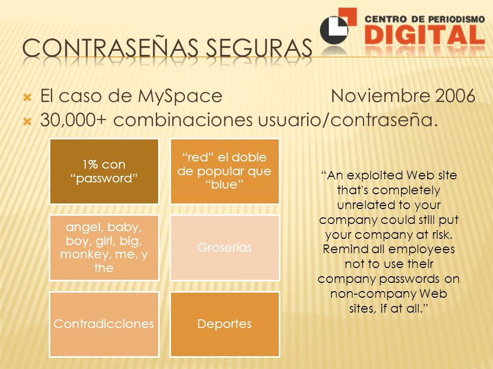 El caso de MySpace Noviembre 2006 30,000+ combinaciones usuario/contraseña. 1% con password red el doble de popular que blue angel, baby, boy, girl, b