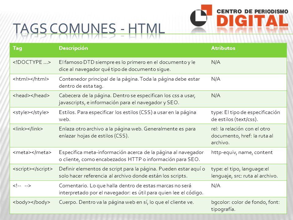 TagDescripciónAtributos El famoso DTD siempre es lo primero en el documento y le dice al navegador qué tipo de documento sigue.