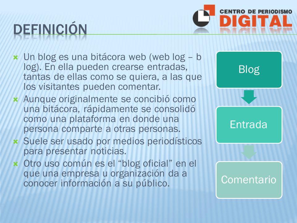 BlogEntradaComentario Un blog es una bitácora web (web log – b log).