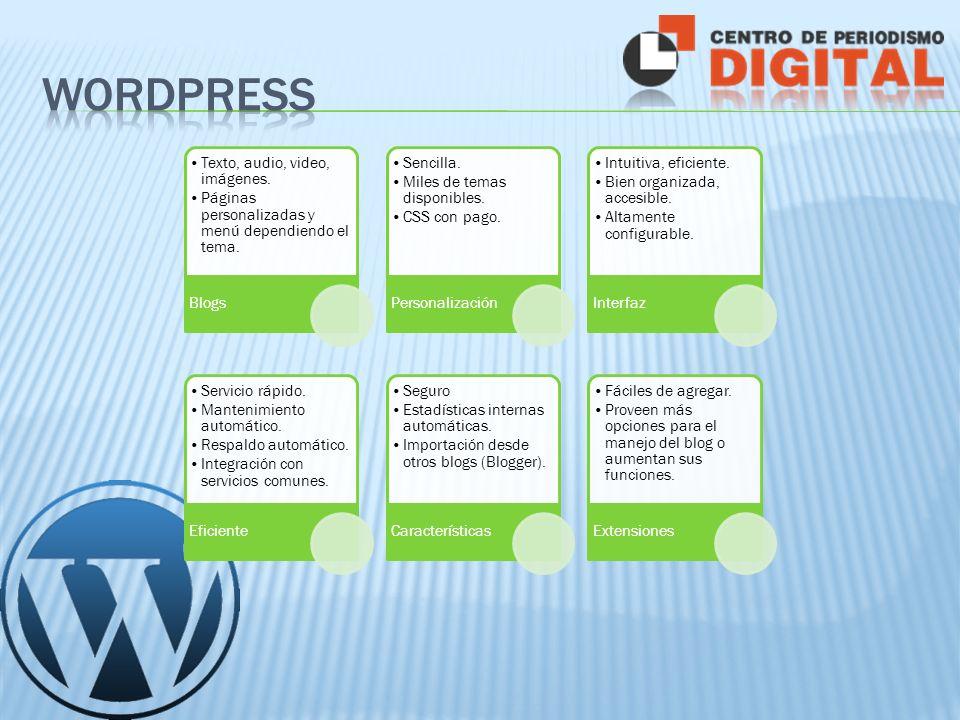 Texto, audio, video, imágenes. Páginas personalizadas y menú dependiendo el tema.
