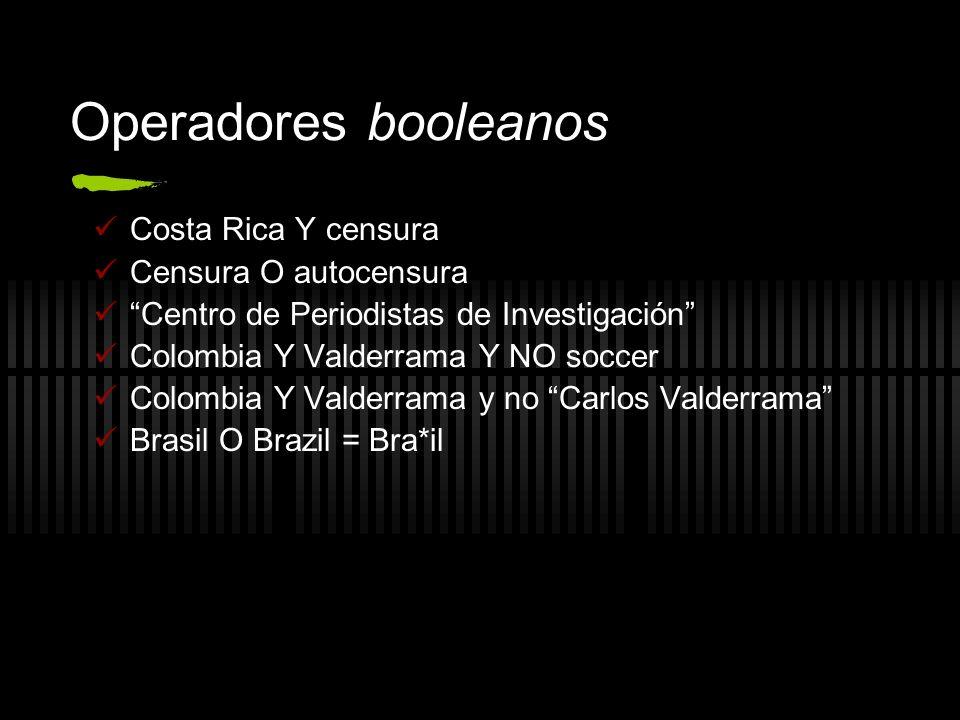 Operadores booleanos Costa Rica Y censura Censura O autocensura Centro de Periodistas de Investigación Colombia Y Valderrama Y NO soccer Colombia Y Va