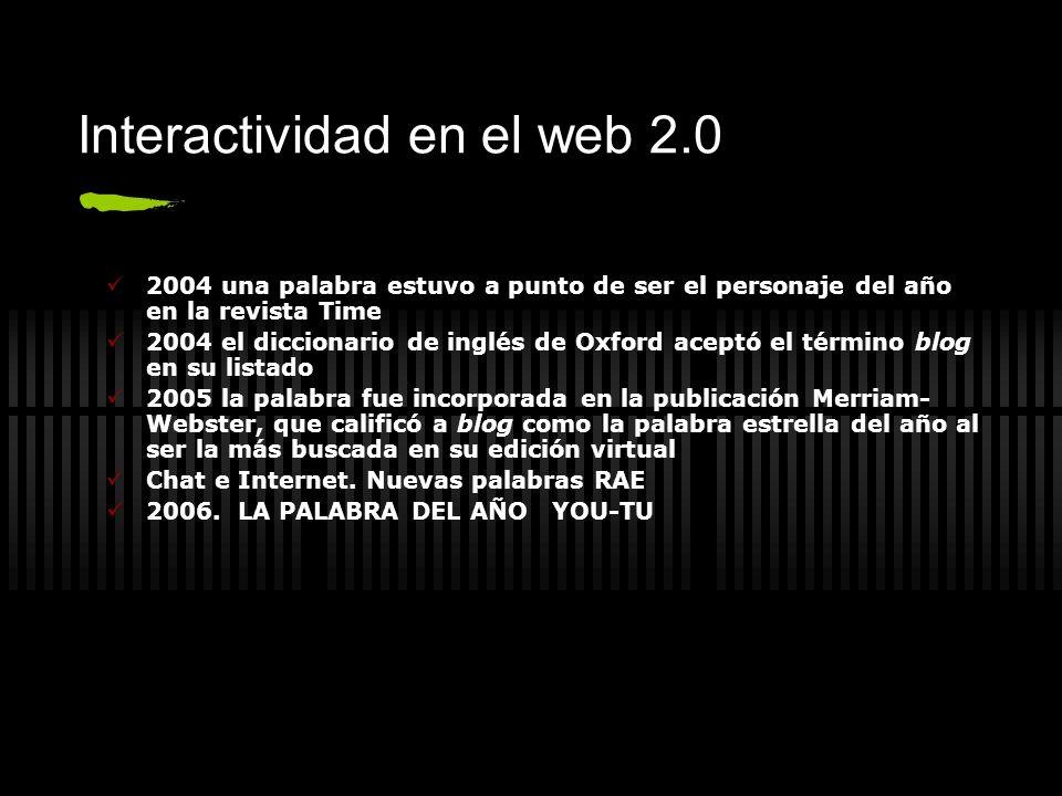 Interactividad en el web 2.0 2004 una palabra estuvo a punto de ser el personaje del año en la revista Time 2004 el diccionario de inglés de Oxford ac