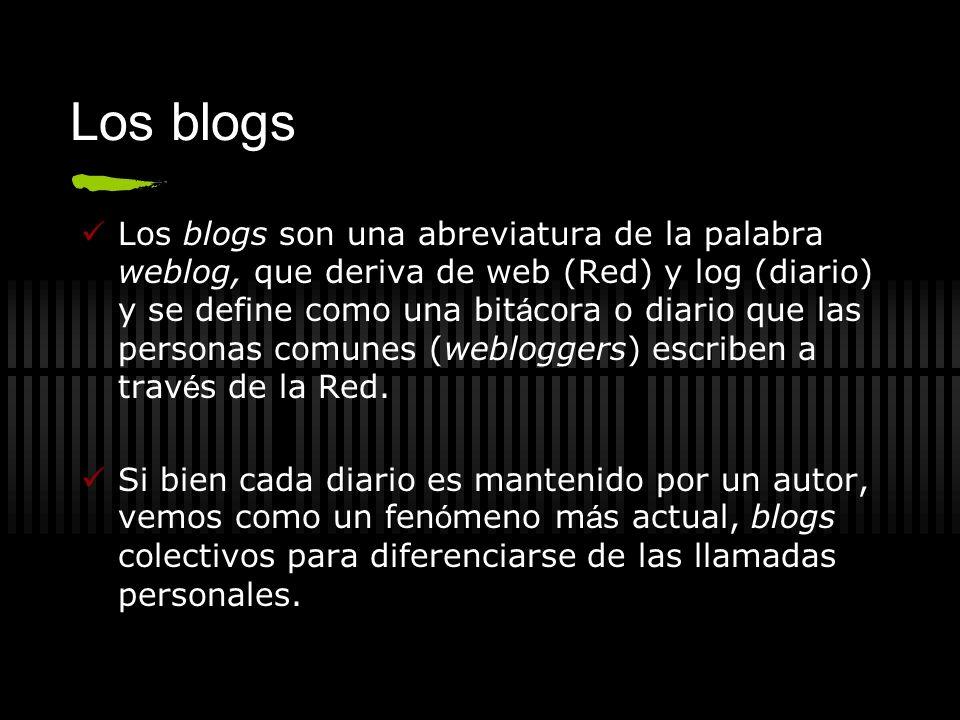 Los blogs Los blogs son una abreviatura de la palabra weblog, que deriva de web (Red) y log (diario) y se define como una bit á cora o diario que las