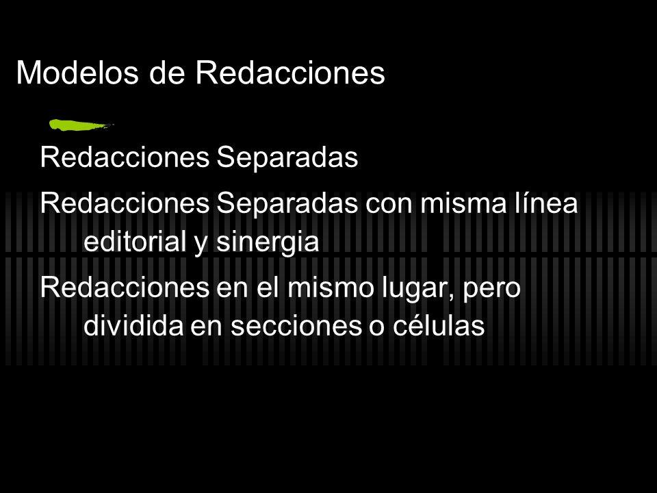 Modelos de Redacciones Redacciones Separadas Redacciones Separadas con misma línea editorial y sinergia Redacciones en el mismo lugar, pero dividida e