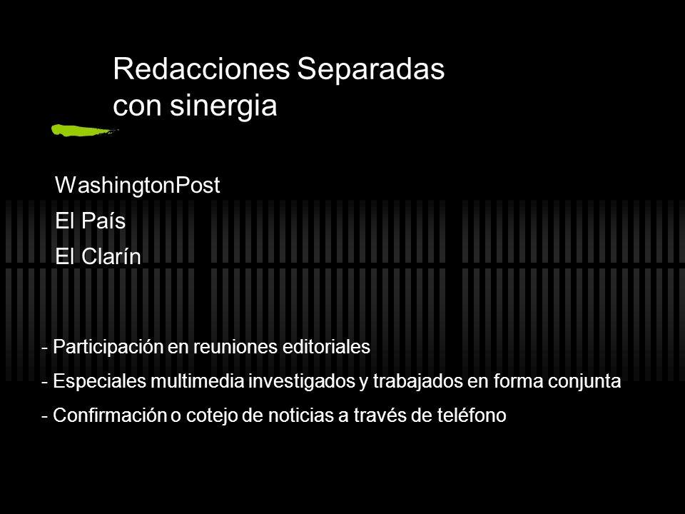 Redacciones Separadas con sinergia WashingtonPost El País El Clarín - Participación en reuniones editoriales - Especiales multimedia investigados y tr