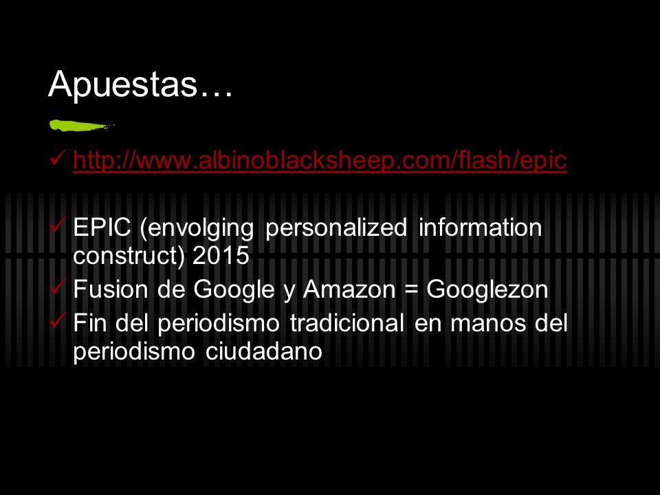 Apuestas… http://www.albinoblacksheep.com/flash/epic EPIC (envolging personalized information construct) 2015 Fusion de Google y Amazon = Googlezon Fi