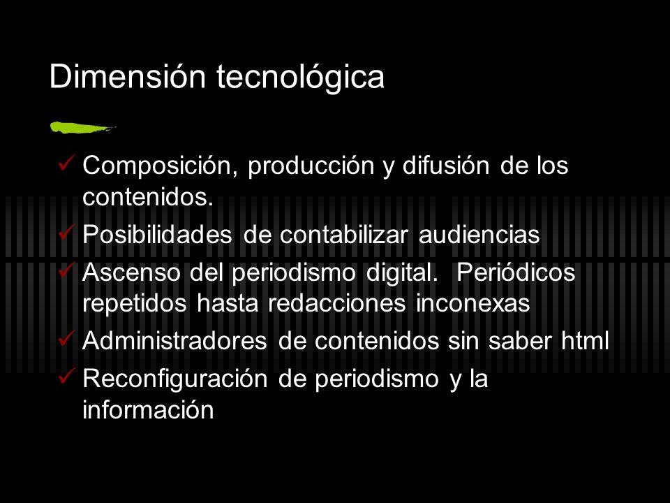 Dimensión tecnológica Composición, producción y difusión de los contenidos. Posibilidades de contabilizar audiencias Ascenso del periodismo digital. P