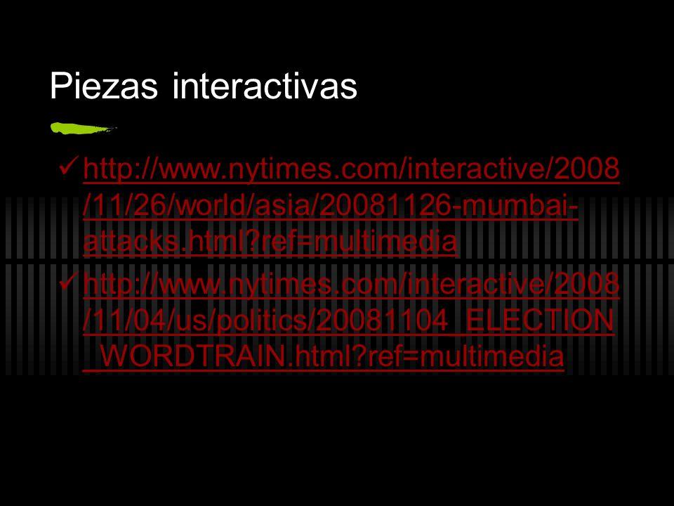 Piezas interactivas http://www.nytimes.com/interactive/2008 /11/26/world/asia/20081126-mumbai- attacks.html?ref=multimedia http://www.nytimes.com/inte