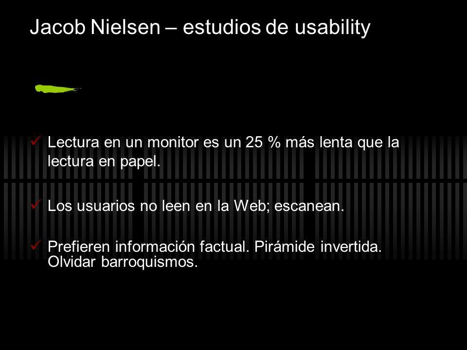 Jacob Nielsen – estudios de usability Lectura en un monitor es un 25 % más lenta que la lectura en papel. Los usuarios no leen en la Web; escanean. Pr