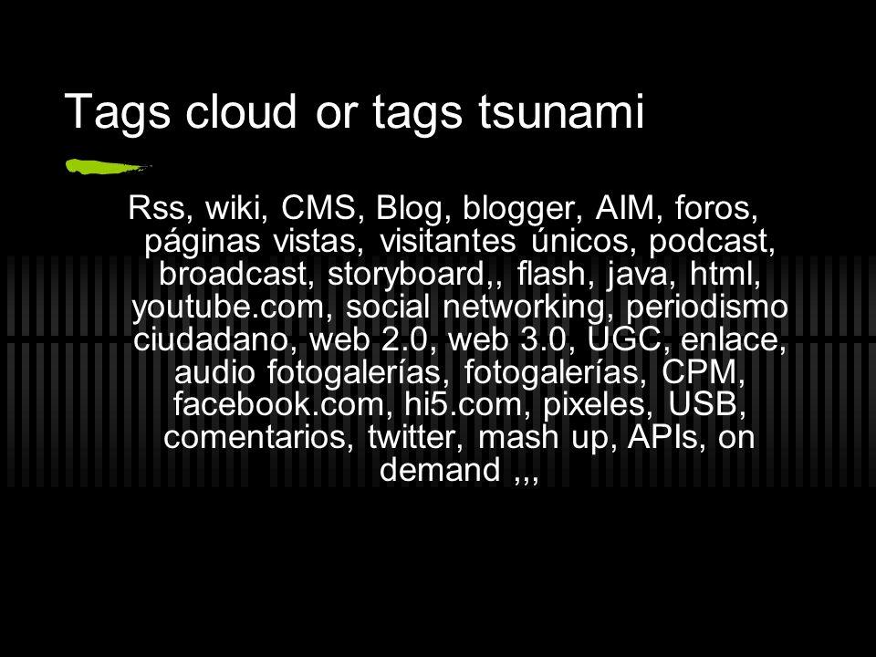 Tags cloud or tags tsunami Rss, wiki, CMS, Blog, blogger, AIM, foros, páginas vistas, visitantes únicos, podcast, broadcast, storyboard,, flash, java,