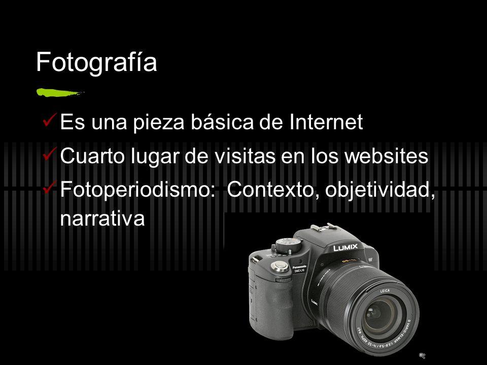 Fotografía Es una pieza básica de Internet Cuarto lugar de visitas en los websites Fotoperiodismo: Contexto, objetividad, narrativa