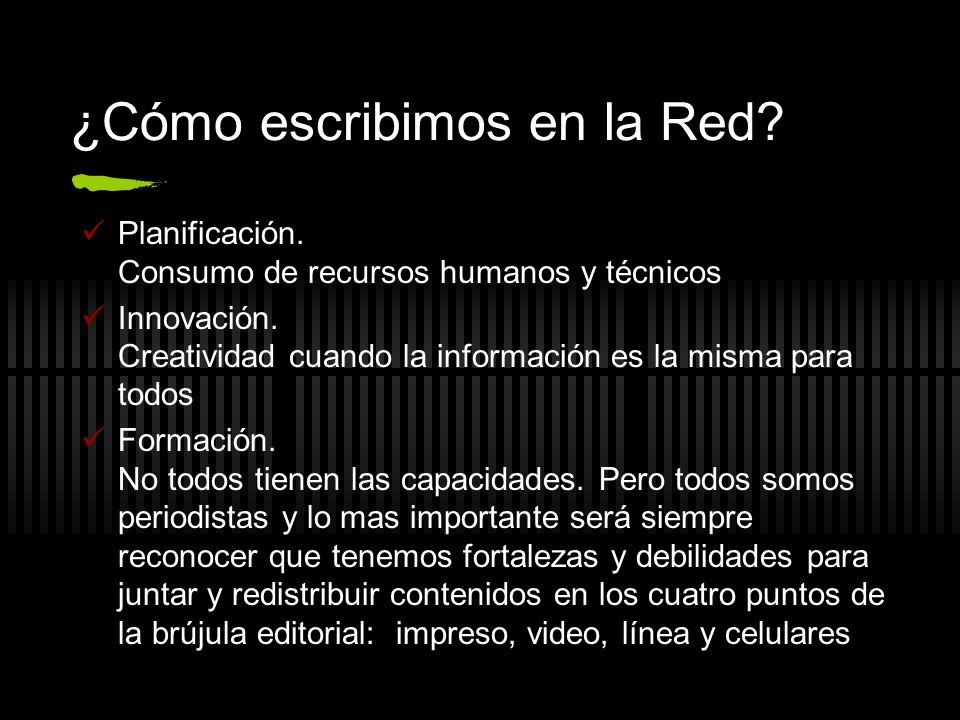 ¿Cómo escribimos en la Red? Planificación. Consumo de recursos humanos y técnicos Innovación. Creatividad cuando la información es la misma para todos