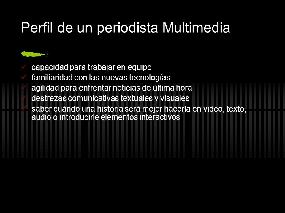 Perfil de un periodista Multimedia capacidad para trabajar en equipo familiaridad con las nuevas tecnologías agilidad para enfrentar noticias de últim