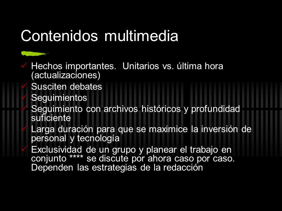 Contenidos multimedia Hechos importantes. Unitarios vs. última hora (actualizaciones) Susciten debates Seguimientos Seguimiento con archivos histórico