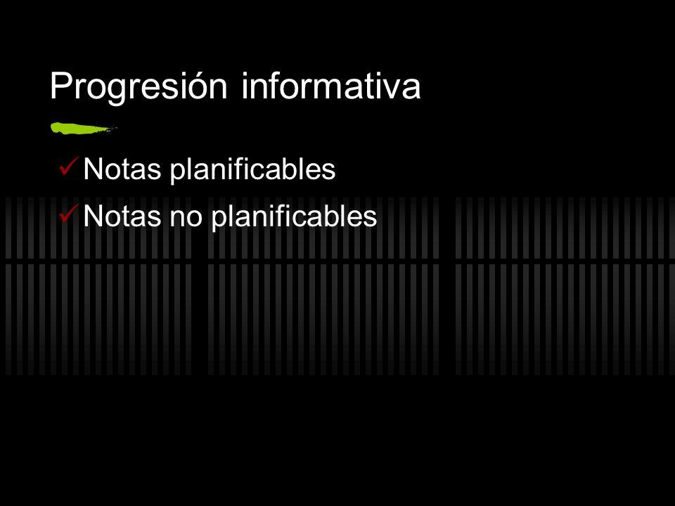 Progresión informativa Notas planificables Notas no planificables