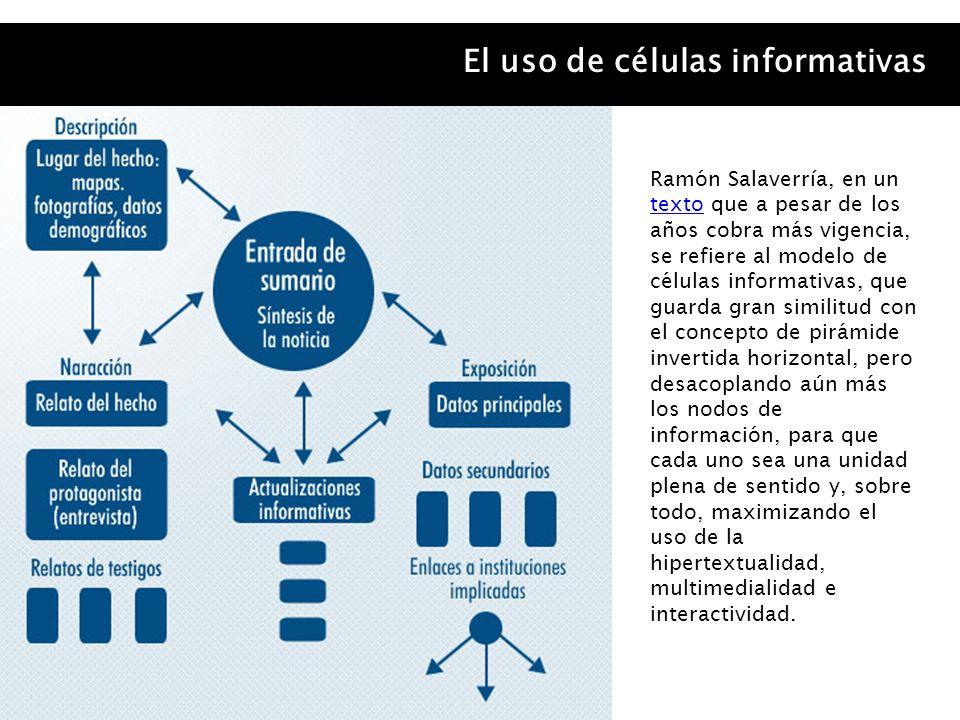 El uso de células informativas Ramón Salaverría, en un texto que a pesar de los años cobra más vigencia, se refiere al modelo de células informativas,