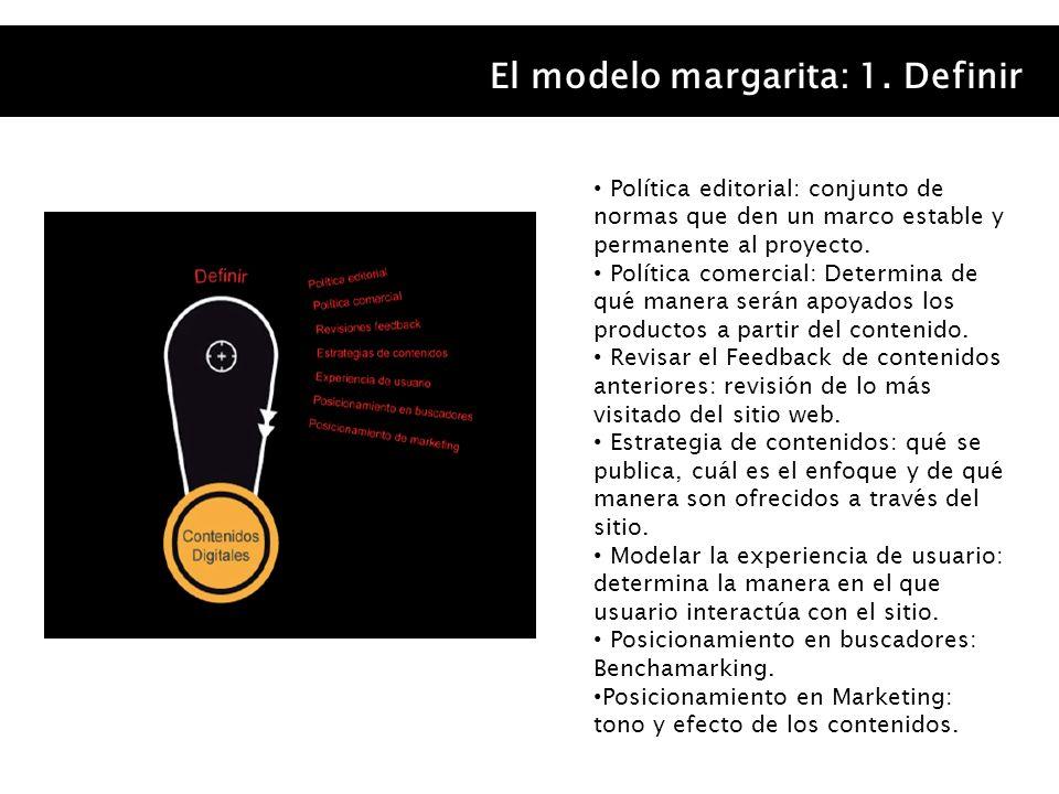 El modelo margarita: 1. Definir Política editorial: conjunto de normas que den un marco estable y permanente al proyecto. Política comercial: Determin