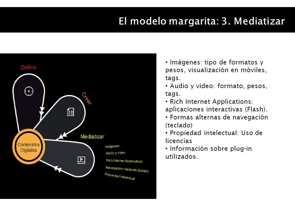 El modelo margarita: 3. Mediatizar Imágenes: tipo de formatos y pesos, visualización en móviles, tags. Audio y video: formato, pesos, tags. Rich Inter